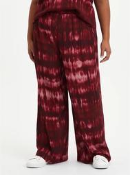 Wine Tie Dye Gauze Wide Leg Pant