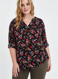 Harper - Challis Floral Black Pullover Blouse