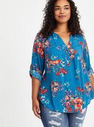 Harper - Challis Floral Blue Pullover Blouse