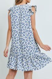 Ruffle -Cap -Sleeve-V-Neck-Leopard-Print-Dress