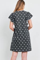 Pompom -Detail-Ruffle-Sleeve-Polka-Dot-Dress