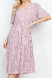 Butterfly -Sleeves-V-Neck-Floral-A-Line-Dress