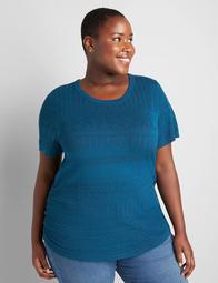 Lane Essentials Ruched-Side Texture Stitch Sweater