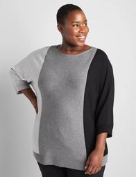 3/4-Sleeve Boatneck Colorblock Sweater