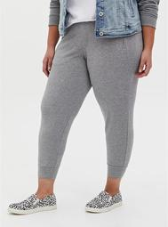 Relaxed Fit Crop Jogger - Ponte Light Heather Grey