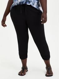 Relaxed Fit Ruched Jogger - Stretch Challis Black