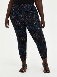 Relaxed Fit Ruched Jogger - Stretch Challis Palms Black