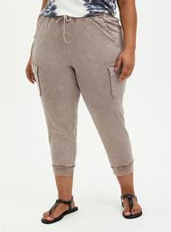 Relaxed Fit Cargo Crop Jogger - Stretch Challis Taupe Wash