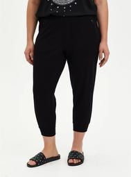 Relaxed Fit Crop Jogger - Ponte Black