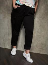 Relaxed Fit Cargo Crop Jogger - Stretch Challis Black