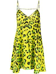 leopard-print satin cami dress