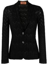 geometric-pattern knit blazer