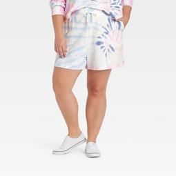 Women's Plus Size Tie-Dye Shorts - Ava & Viv™ Blue