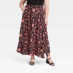 Women's Plus Size Floral Print Maxi Skirt - Ava & Viv™ Brown