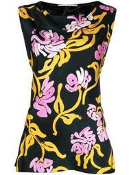 floral-print silk vest