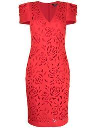Scuba floral-pattern midi dress