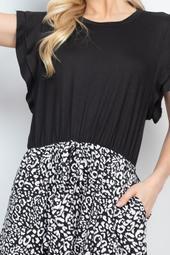 Batwing-Sleeve-Solid-Top-Leopard-Hem-Dress