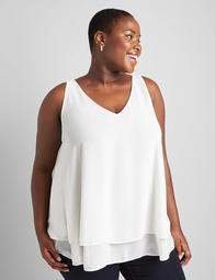 Double V-Neck Layered Swing Tank