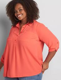 No-Peek Button-Front Popover Camp Shirt