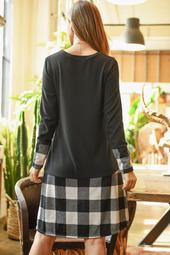 Plaid-Hem-Long-Sleeve-Hacci-Brushed-Dress