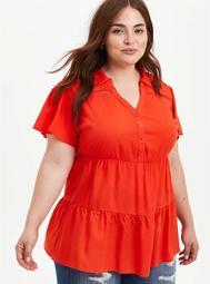 Orange Rayon Babydoll Tunic