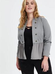 Grey Fabric Mix Military Peplum Jacket
