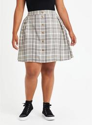 Skirt - Twill Plaid Grey