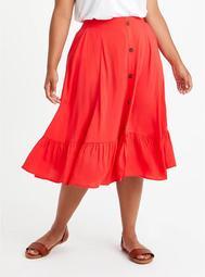 Midi Skirt - Challis Red