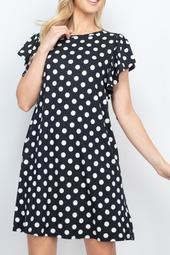 Ruffle-Sleeve-Round-Neck-Polka-Dot-Dress