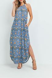 Boho-Print-Halter-Maxi-Dress