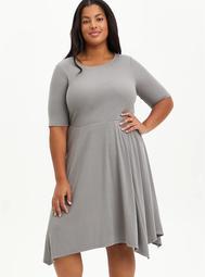 Grey Ribbed Handkerchief Mini Dress