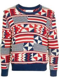 geometric-print knitted jumper
