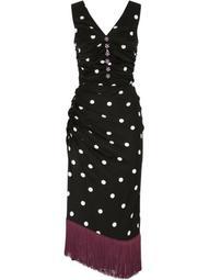 polka dot asymmetric midi dress