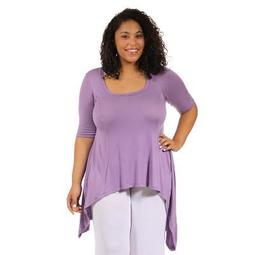24seven Comfort Apparel Women's Plus High Low Tunic Top