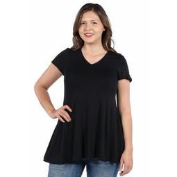 24seven Comfort Apparel Women's Plus Short Sleeve Tunic T Shirt