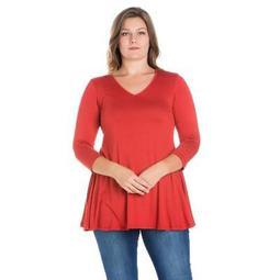 24seven Comfort Apparel Women's Plus Three Quarter Sleeve Tunic Top