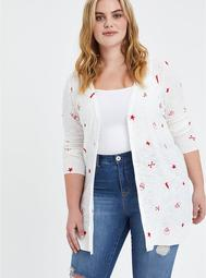 Button Front Cardigan Sweater - Mystic Icons White