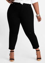 Black Distressed Knee Skinny Jean