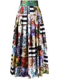 patchwork print pleated skirt