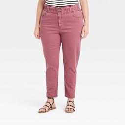 Women's Plus Size High-Rise Paperbag Taper Jeans - Ava & Viv™