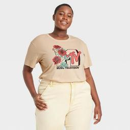 Women's MTV Floral Print Short Sleeve Graphic T-Shirt - Taupe