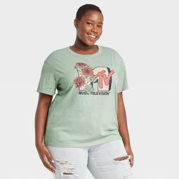 Women's MTV Floral Print Short Sleeve Graphic T-Shirt - Green
