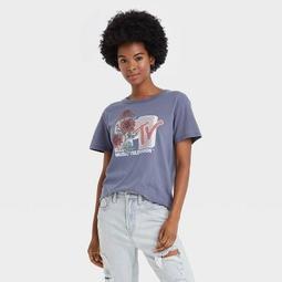 Women's MTV Floral Print Short Sleeve Graphic T-Shirt - Navy