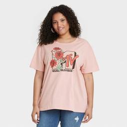 Women's MTV Floral Print Short Sleeve Graphic T-Shirt - Pink
