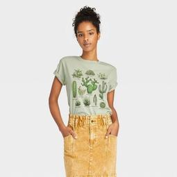 Women's Cactus Grid Short Sleeve Graphic T-Shirt - Green