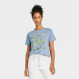 Women's Cactus Grid Short Sleeve Graphic T-Shirt - Blue