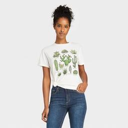 Women's Cactus Grid Short Sleeve Graphic T-Shirt - White