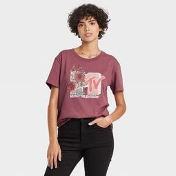 Women's MTV Floral Print Short Sleeve Graphic T-Shirt - Burgundy