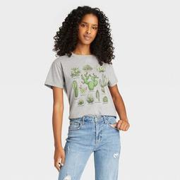 Women's Cactus Grid Short Sleeve Graphic T-Shirt - Gray