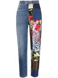 patchwork-detail straight-leg jeans